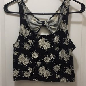 Knit floral crop top